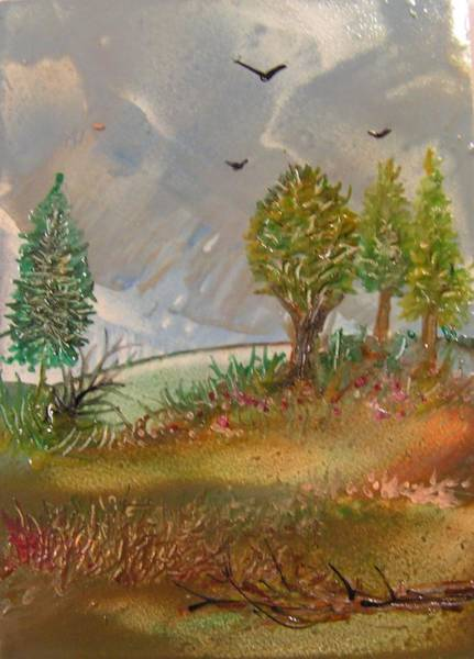 Atc Painting - Landscape by John Vandebrooke