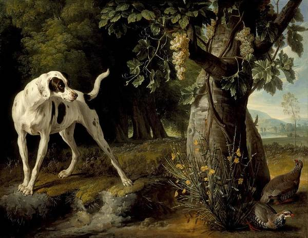 Painting - Landscape With A Dog And Partridges by Celestial Images
