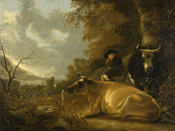 Cuyp Wall Art - Painting - Landscape With Cows And A Shepherd Boy by Aelbert Cuyp
