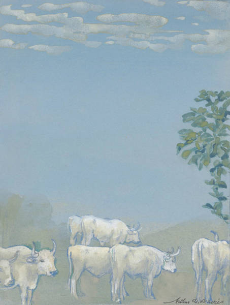 Drawing - Landscape With Cows by Arthur Bowen Davies