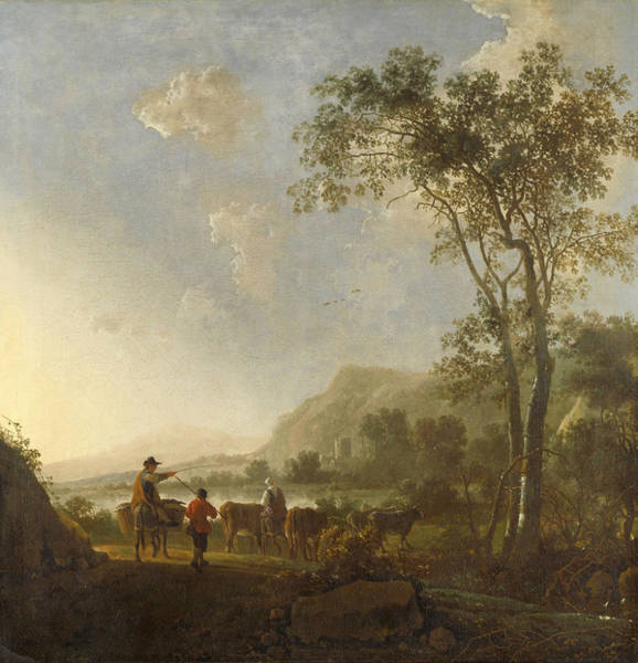Cuyp Wall Art - Painting - Landscape With Herdsmen And Cattle by Aelbert Cuyp