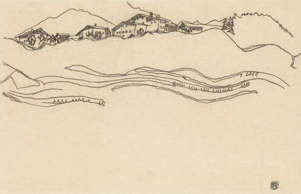 Austrian Drawing - Landscape With Houses by Egon Schiele