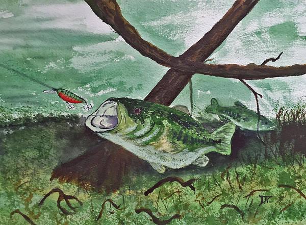 Painting - Largemouth Bass by Donald Paczynski