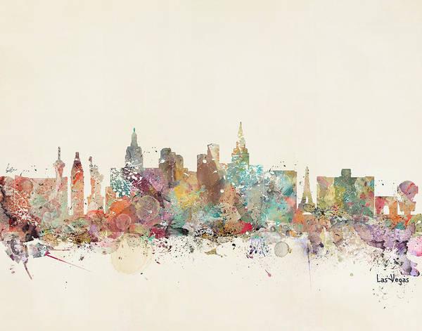 Las Vegas Wall Art - Painting - Las Vegas Skyline by Bri Buckley