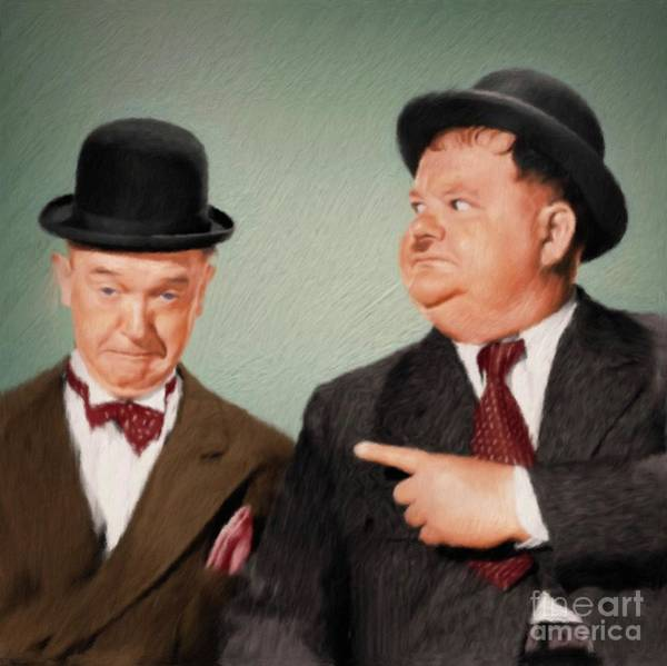 Laurel Wall Art - Painting - Laurel And Hardy by Mary Bassett