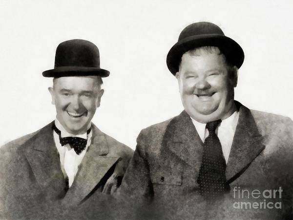 Laurel Wall Art - Painting - Laurel And Hardy, Vintage Comedians By Js by John Springfield