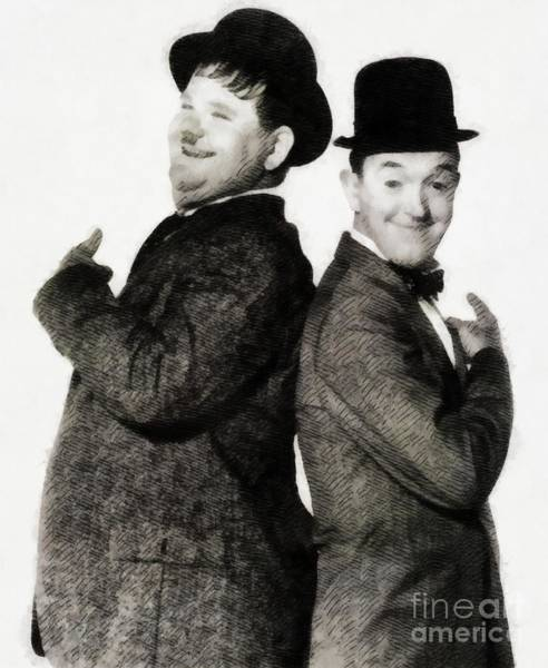 Laurel Wall Art - Painting - Laurel And Hardy, Vintage Comedy Actors by John Springfield