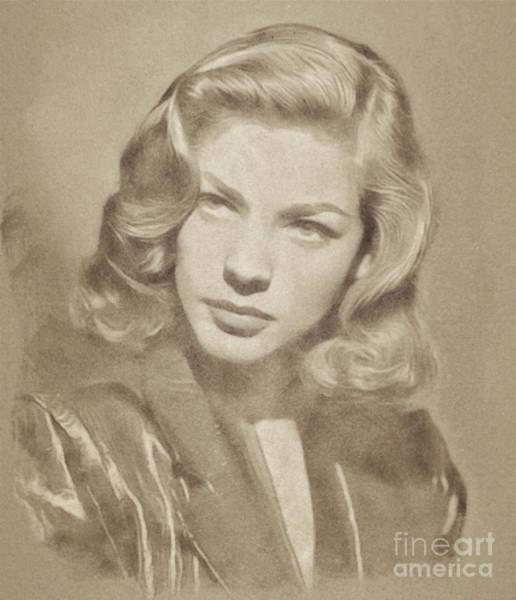 Pinewood Drawing - Lauren Bacall, Hollywood Legend By John Springfield by John Springfield