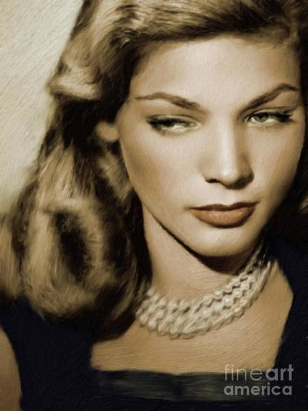 Show Business Wall Art - Painting - Lauren Bacall, Vintage Actress by Mary Bassett