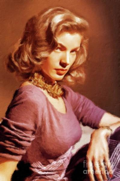 Stardom Painting - Lauren Bacall Vintage Hollywood Actress by Mary Bassett