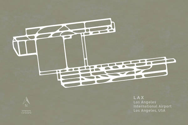 Lax Digital Art - Lax Los Angeles International Airport In Los Angeles Runway Silh by Jurq Studio