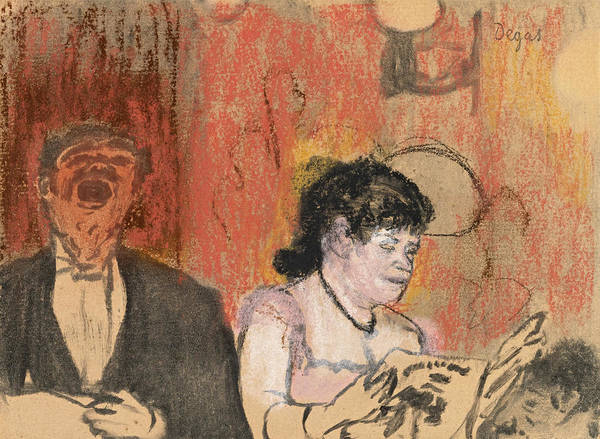 Impressionistic Drawing - Le Duo by Edgar Degas