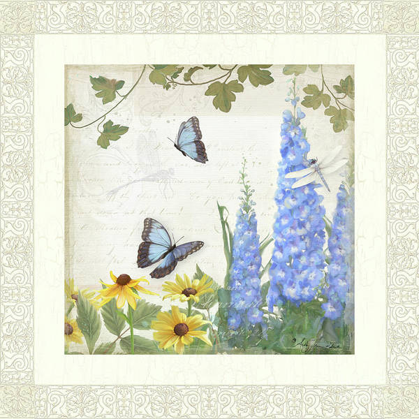 Wall Art - Painting - Le Petit Jardin 1 - Garden Floral W Butterflies, Dragonflies, Daisies And Delphinium by Audrey Jeanne Roberts
