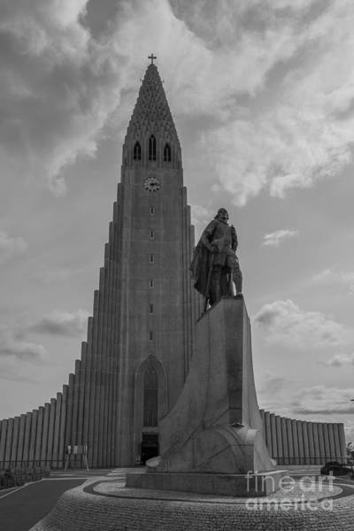 Reykjavik Photograph - Leif Erikson Statue Bw by Michael Ver Sprill