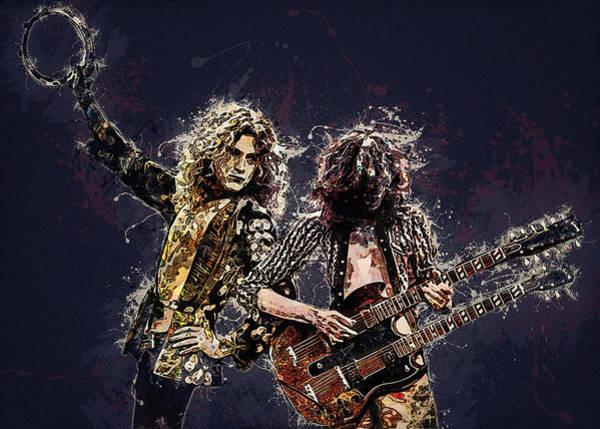 Famous People Digital Art - Led Zeppelin. Jimmy Page And Robert Plant. by Lilia Kosvintseva