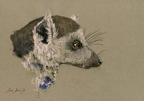 Lemur Wall Art - Painting - Lemur Head Study by Juan  Bosco