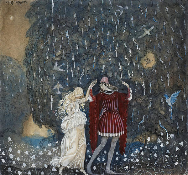 Swedish Painters Wall Art - Painting - Lena Dances With The Knight by John Bauer