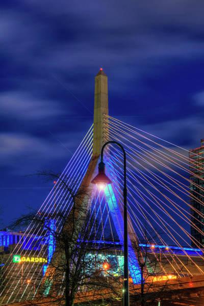 Photograph - Leonard P Zakim Bridge At Night - Boston by Joann Vitali