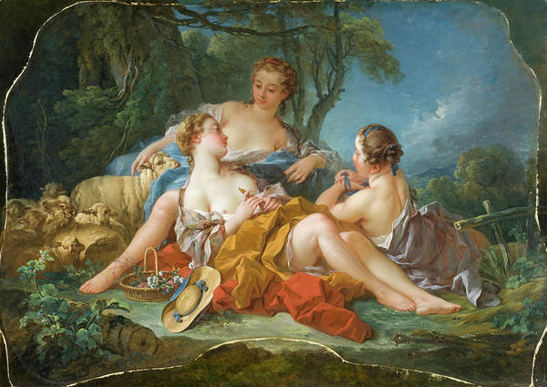 Francois Boucher Painting - Les Confidences Pastorales by Francois Boucher