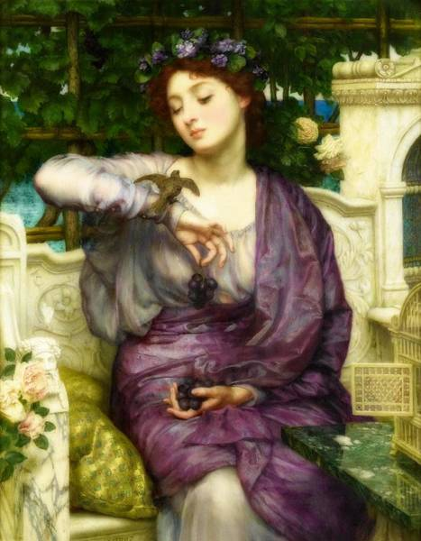 Wall Art - Painting - Lesbia And Her Sparrow by Edward Poynter