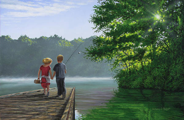 Painting - Let's Go Fishing by Anthony J Padgett