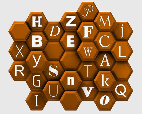 Digital Art - Letters Over Orange Hexagons. by Alberto RuiZ