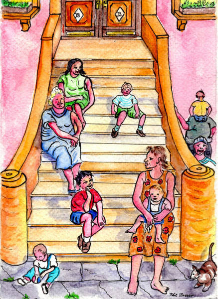 Mixed Media - Life On The Stoop by Philip Bracco