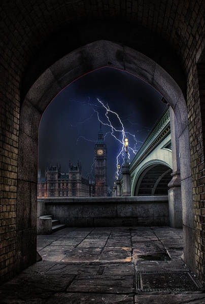 Westminster Bridge Photograph - Lightning Storm by Martin Newman