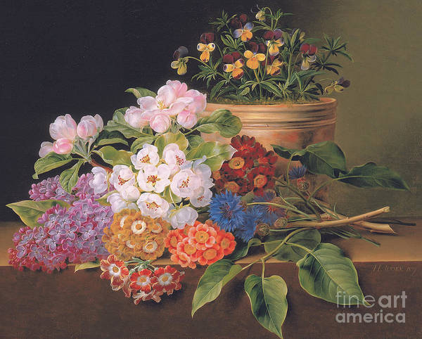 Violas Painting - Lilac, Apple Blossom, Cornflowers And Sweet Williams With A Pot Of Violas On A Ledge by Johan Laurents Jensen
