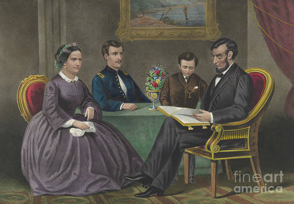 Wall Art - Painting - Lincoln At Home by Currier and Ives