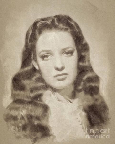 Pinewood Drawing - Linda Darnell, Vintage Actress By John Springfield by John Springfield