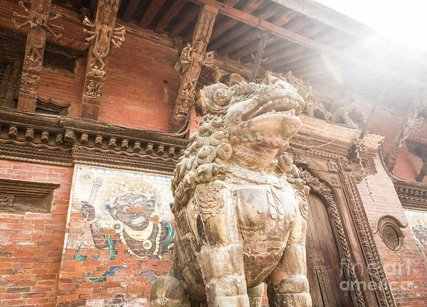 Photograph - Lion Stone Statue Guarding The Entrance Of A Palace In The Famou by Didier Marti