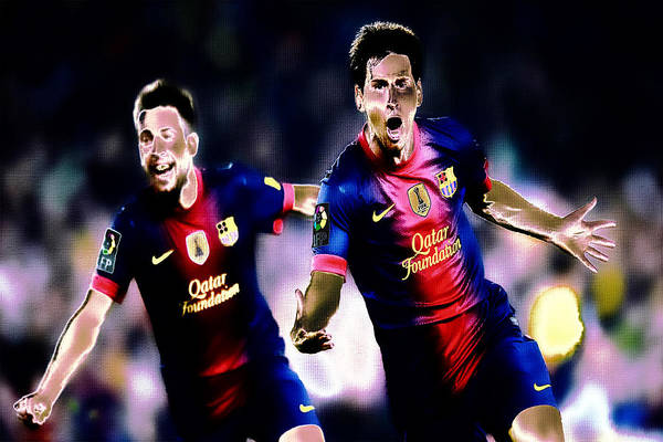 Manchester United Fc Wall Art - Digital Art - Lionel Messi And Jordi Alba by Brian Reaves