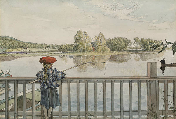 Angling Art Wall Art - Painting - Lisbeth Angling. From A Home by Carl Larsson