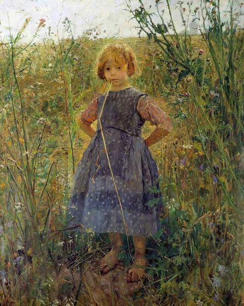Wall Art - Painting - Little Heathland Princess by Fritz von Uhde
