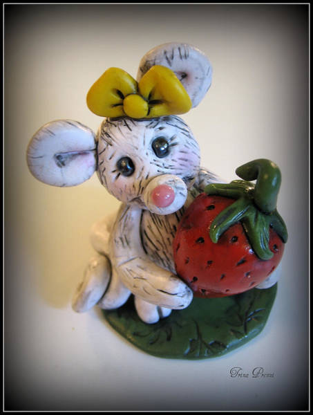 Polymer Clay Photograph - Little Mouse Big Strawberry by Trina Prenzi