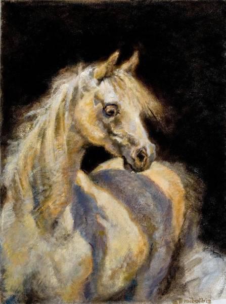 Painting - Little White Mare by Ellen Dreibelbis
