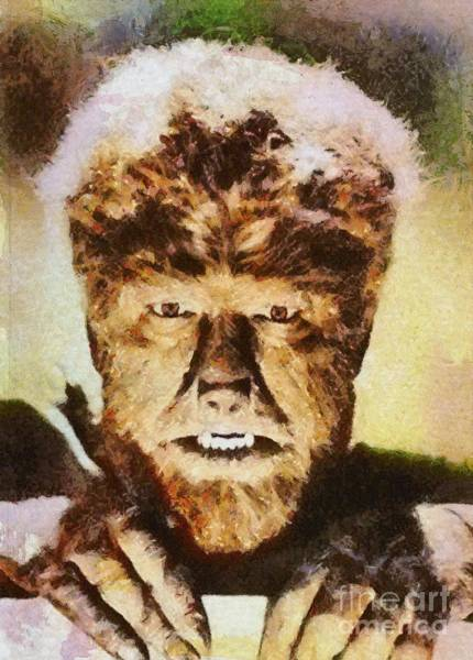 Screen Painting - Lon Chaney Jr, As The Wolfman by Mary Bassett