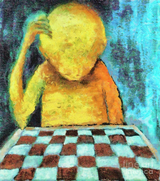 Wall Art - Painting - Lonesome Chess Player by Michal Boubin