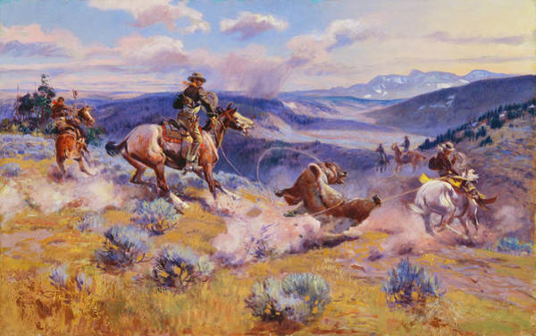 In Canada Painting - Loops And Swift Horses Are Surer Than Lead by Charles Marion Russell