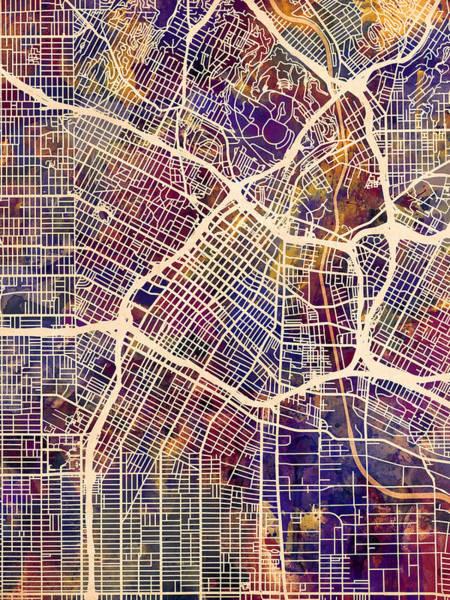 Downtown Digital Art - Los Angeles City Street Map by Michael Tompsett