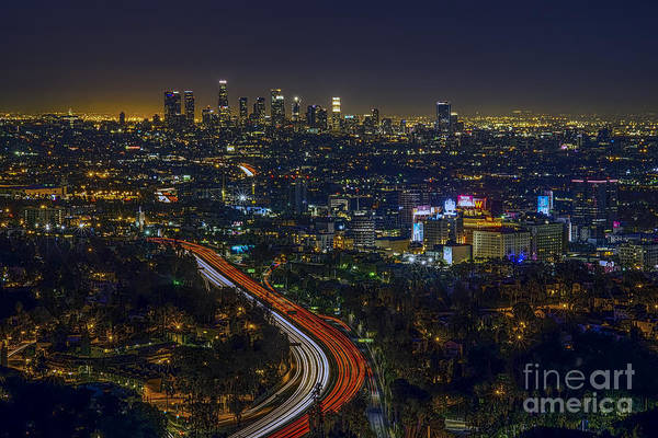 Los Angeles Skyline Photograph - Los Angeles Sunrise by Art K