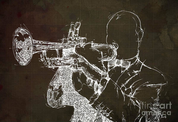Wall Art - Drawing - Louis Armstrong On Stage by Drawspots Illustrations
