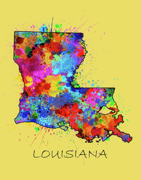 Louisiana Digital Art - Louisiana Map Color Splatter by Bekim M