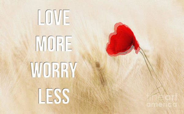 Painting - Love More Worry Less - Inspirational Poster by Celestial Images
