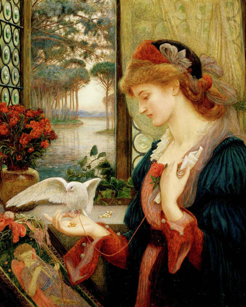 Embroidery Painting - Love's Messenger by Marie Spartali Stillman