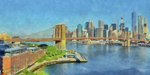 Digital Art - Lower Manhattan And The Brooklyn Bridge by Digital Photographic Arts