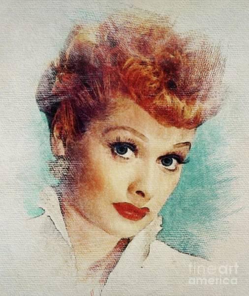 Lucille Ball Wall Art - Digital Art - Lucille Ball, Vintage Actress by John Springfield