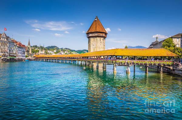 Chapel Bridge Photograph - Luzern by JR Photography