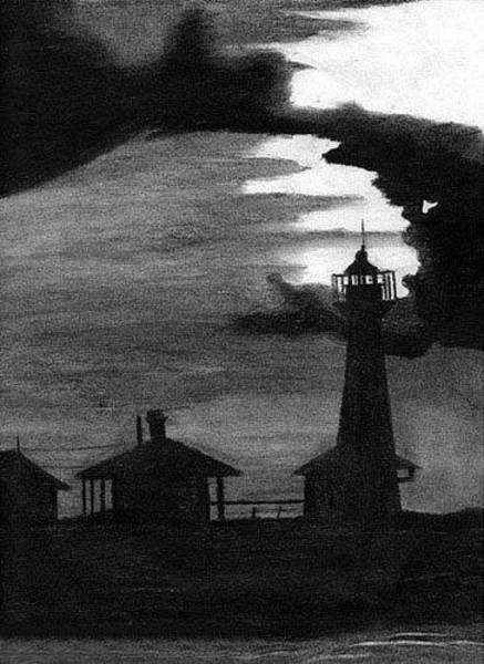 Drawing - Lydia Ann Lighthouse by Adam Johnson